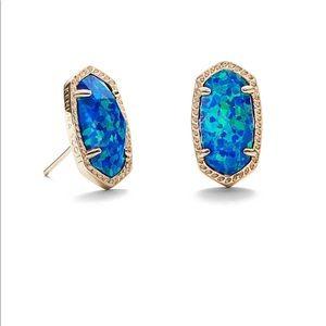 Kendra Scott Ellie Gold Stud Earring Blue Opal